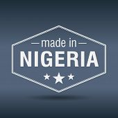 Made In Nigeria Hexagonal White Vintage Label