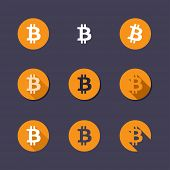 Bitcoin icons. Virtual currency flat vector icons