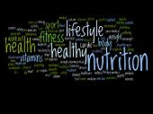 Concept or conceptual abstract nutrition health word cloud or wordcloud on black background