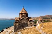 stock photo of armenia  - The Sevan temple complex on the peninsula of the Lake Sevan Armenia - JPG