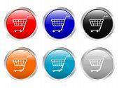 Cesta de la compra de botones brillante