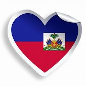 Heart Sticker With Flag Of Haiti  Isolated On White