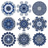 Circle lace ornament, round geometric doily pattern collection