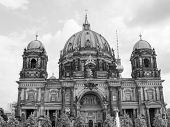 image of dom  - Berliner Dom cathedral church in Berlin Germany in black and white - JPG