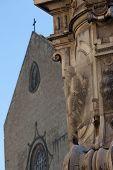 stock photo of obelisk  - Obelisk detail Place del Ges - JPG