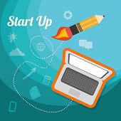 picture of start over  - Start up business design weather concept design over blue background - JPG