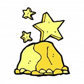 image of gold nugget  - retro comic book style cartoon gold nugget - JPG