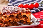 pic of lasagna  - Home made lasagna, traditional comfort food with lashings of cheese and beef mince