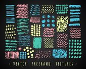 image of freehand drawing  - Set Creative Freehand Isolated Textures - JPG