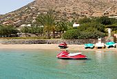 image of waverunner  - Jet ski at the beach of luxury hotel Crete Greece - JPG
