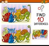 foto of differences  - Cartoon Illustration of Finding Differences Educational Game for Preschool Children - JPG