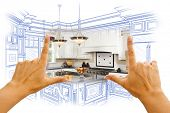 stock photo of hope  - Female Hands Framing Custom Kitchen Design Drawing and Photo Combination - JPG
