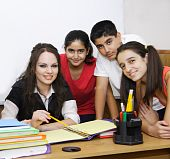 Teacher And Students Posing