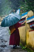foto of himachal pradesh  - Buddhist monk with umbrella spinning prayer wheels on kora around Tsuglagkhang complex in McLeod Ganj - JPG