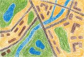 stock photo of cartographer  - Trace of street map of town - JPG