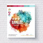image of hexagon  - Abstract design on an annual report vector design template with colorful overlapping hexagons - JPG