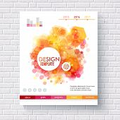 picture of hexagon pattern  - Abstract hexagonal pattern design template in shades of orange and red with charts - JPG