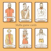 stock photo of mafia  - Sketch Mafia cards in vintage style vector - JPG