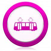 pic of tram  - tram violet icon public transport sign  - JPG