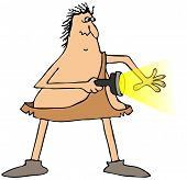 image of caveman  - This illustration depicts a startled caveman pointing a flashlight to his side - JPG
