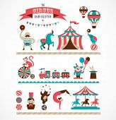 image of circus clown  - vintage hipster circus collection with carnival - JPG