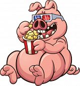 pic of popcorn  - Fat cartoon pig eating popcorn and wearing glasses - JPG
