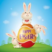 stock photo of easter eggs bunny  - Happy Easter - JPG