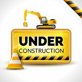 stock photo of reconstruction  - Under construction poster with warning sign and yellow reconstruction cone vector illustration - JPG