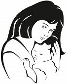 stock photo of nurture  - Mother and baby symbol hand drawn silhouette - JPG