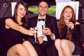 pic of limousine  - Pretty girls with ladies man in the limousine on a night out - JPG