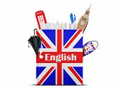picture of grammar  - English language textbook with the British flag and umbrella - JPG