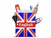 stock photo of grammar  - English language textbook with the British flag and umbrella - JPG