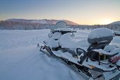 stock photo of laplander  - Snowmobile Parked In Levi - JPG