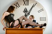 stock photo of time study  - Sexy Woman Is a Present For a Student - JPG