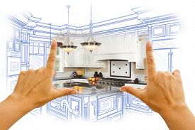 foto of draft  - Female Hands Framing Custom Kitchen Design Drawing and Photo Combination - JPG