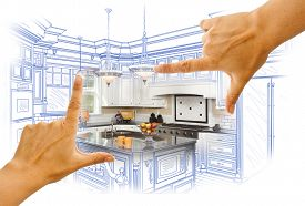 image of combinations  - Female Hands Framing Custom Kitchen Design Drawing and Photo Combination - JPG