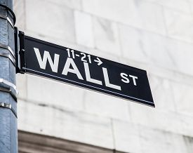stock photo of nyse  - Wall street sign in New York City - JPG