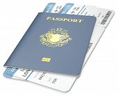 stock photo of boarding pass  - Blue Passport and Boarding Pass - JPG