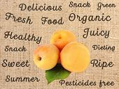 picture of sackcloth  - Fresh  apricots and words around on sackcloth background - JPG