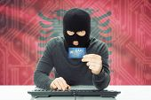 image of albania  - Cybercrime concept with flag on background  - JPG