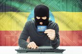 pic of ethiopia  - Cybercrime concept with flag on background  - JPG