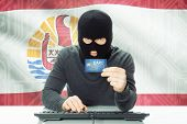 foto of french polynesia  - Cybercrime concept with flag on background  - JPG