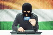 pic of cybercrime  - Cybercrime concept with flag on background  - JPG