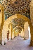 image of shiraz  - Fisheye view of the arcade hall passages of the Nasir al - JPG