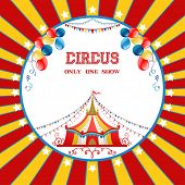stock photo of stratus  - Circus poster with balloons for advertising - JPG