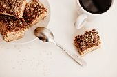 image of biscuits  - coffee cup with coconut biscuits on white table top view - JPG