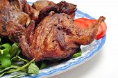 image of quail  - Vietnamese grilled quail on a white background - JPG