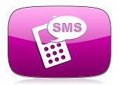 stock photo of sms  - sms violet icon phone sign original modern design for web and mobile app on white background with reflection  - JPG
