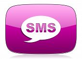 picture of sms  - sms violet icon message sign  - JPG