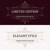 picture of boutique  - Set of vintage frames for luxury logos with flourishes elegant calligraphic decorative ornamental lines - JPG